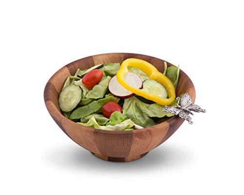 (Vagabond House Single Serving Wood Salad Bowl with Pewter Butterfly 7.5 Inches Diameter Bowl 3.25 inches Tall)