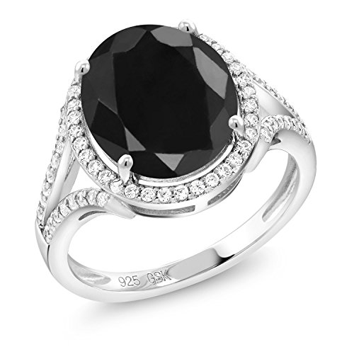 - 5.22 Ct Oval Black Sapphire 925 Sterling Silver Ring (Size 7)