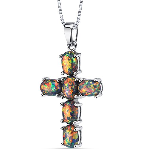 Created Black Opal Cross Pendant Necklace Sterling Silver 3.00 Carats