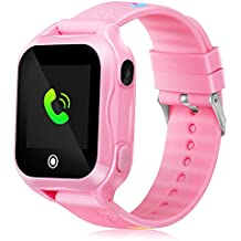 Smart Watch for Kids IP67 Waterproof Kids Smart Watch for Girls Boys with GPS Tracker SOS Camera Game 1.44 inch Touch Screen Sport Fitness Tracker Smart Watch (Pink)