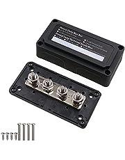 "T Tocas 300A Bus Bars Heavy Duty Module Design Power Distribution Block Busbar Box with 4X M10(3/8"") Terminal Studs Black"