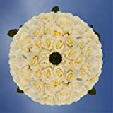 GlobalRose 250 Fresh Cut White Wedding Roses - Blizzard Roses - Fresh Flowers Wholesale Express Delivery - Perfect for Weddings, Anniversary or any occasion.