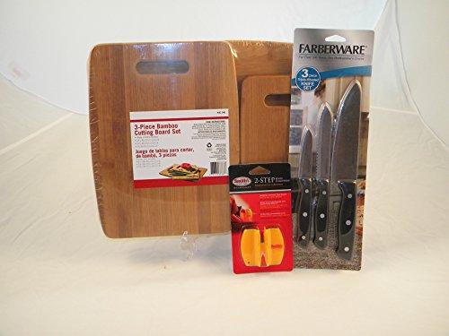 rds, 3 Farberware Knives & Sharpener Bundle ()
