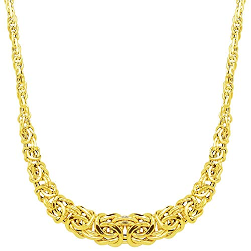 Eternity Gold Graduated Byzantine Links Necklace in 14K Yellow Gold, 17