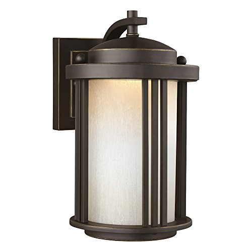 Sea Gull Lighting 8547991S-71 Crowell LED Outdoor Wall Lantern with Creme Parchment Glass Shade, Antique Bronze Finish