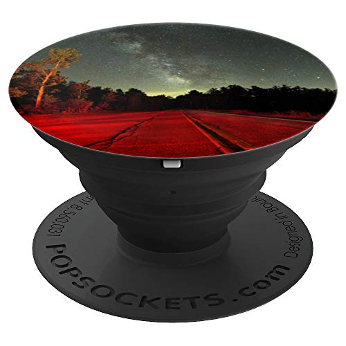 Starry Night Starry Sky Forest Milky Way Lonely Road Design - PopSockets Grip and Stand for Phones and Tablets ()