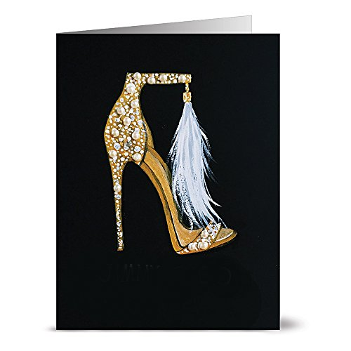 24 Note Cards - Golden Shoes - Blank Cards - Kraft Envelopes Included (Shoe Box Note)