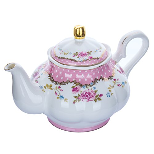 HOMEKEROS Fine Bone China Porcelain Teapot Vintage Royal Style Rose Floral Trimmed In Gold - 39 Ounce for 5 cups