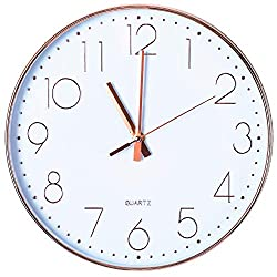 Tiords 12 inch Decorative Silent Non-Ticking Battery Operated Wall Clock, Rose Gold Quartz Plastic Frame Glass Cover