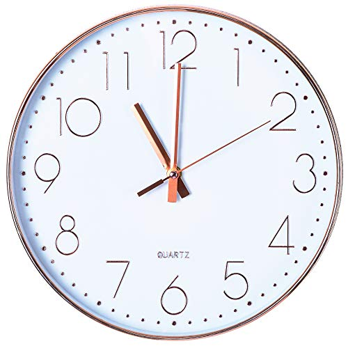 d21d199cc85 Tiords 12 inch Decorative Silent Non-Ticking Battery Operated Wall Clock