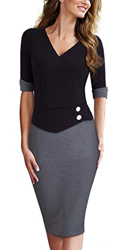 HOMEYEE Women's Official Wear to Work Half Sleeve V Neck Pencil Bodycon Dress B364 (4, Black + Gray) by HOMEYEE