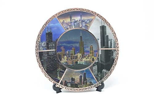 All Things Chicago Souvenir Skyline Images Copper Trimmed Plate Stand (6 in. Diameter)