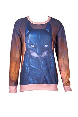 Ninimour- Fashion Women's Cartoon 3 D Print Sweatshirt Pullovers Hoodies (M, batman cat)