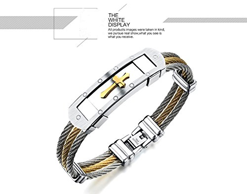 [LikeYOU Titanium Steel Braided Gold Three Rows of Wire Between Cross Men's Bracelet] (Bollywood Costumes For Men)
