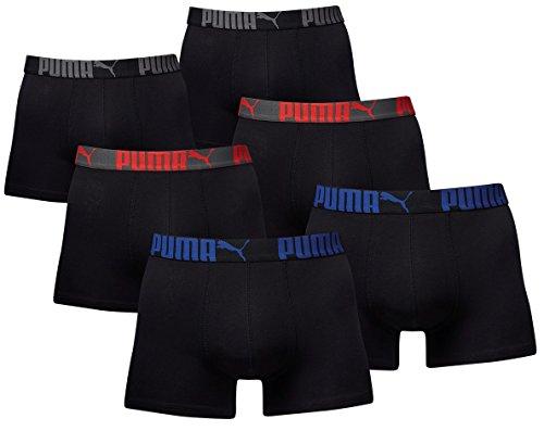 PUMA Herren PROMO STYLE Boxer Boxershort 6er Pack triple black pro - L