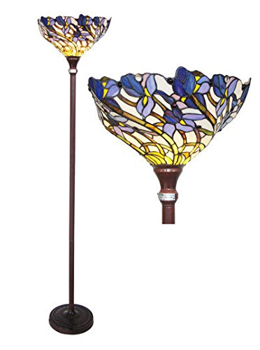 Stained Glass Tiffany Style Iris Torchiere Floor