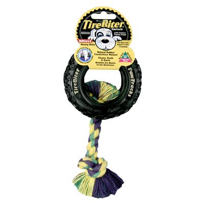 TIREBITER PAW TRACKS TIRE WITH ROPE DOG TOY by Mammoth