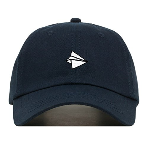 Paper Airplane Dad Hat, Embroidered Baseball Cap, 100% Cotton, Unstructured Low Profile, Adjustable Strap Back, 6 Panel, One Size Fits Most (Multiple Colors) (Navy)