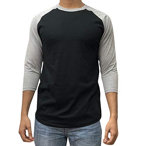 KANGORA Men's Plain Raglan Baseball Tee T-Shirt Unisex 3/4 Sleeve Casual Athletic Performance Jersey Shirt (24+ Colors) (Black Gray, Medium) ()