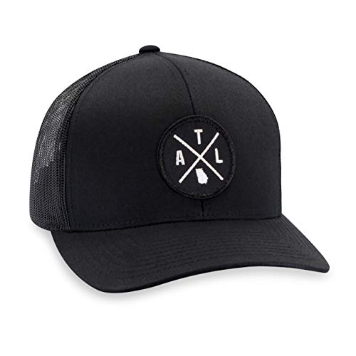 ATL Hat - Atlanta Trucker Hat Baseball Cap Snapback Golf Hat (Black)