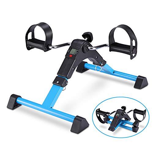 TODO Pedal Exerciser Foot Peddler Desk Bike Foldable with LCD Monitor (Blue)
