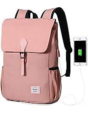 Wind Took Canvas Rucksack Retro Damen Rucksack Daypack Laptop Notebook Backpack 15 Zoll mit USB Kabel für Uni Casual Alltag Freizeit, 27 x 14 x 38 cm, Grau