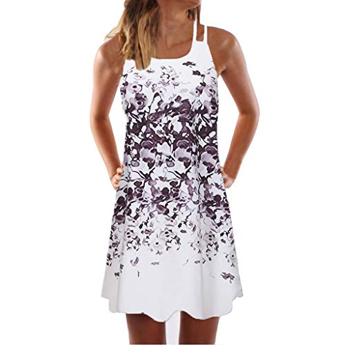 Women Boho Dress Vintage Sleeveless Beach Printed Short Dress Summer Mini Plus Size Dress Purple