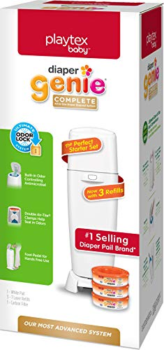 Playtex Diaper Genie Complete Diaper Pail, With Built-in Odor Controlling Antimicrobial, Includes 1 Pail And 3 Max Fresh Refills, White, White Pail (10078300115981)