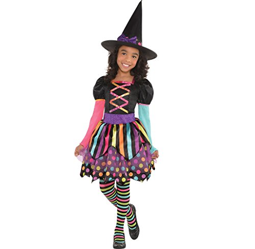Amscan Miss Matched Witch Halloween Costume for Girls, Medium, with Included Accessories