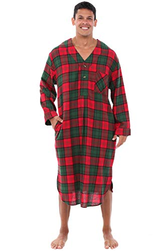 - Alexander Del Rossa Mens Flannel Nightshirt, 100% Cotton Long Sleep Shirt, Small Red and Green Plaid (A0542Q03SM)