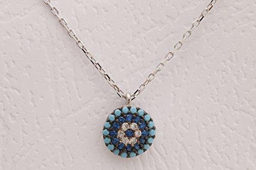 Special Design Turkish Evil Eye Handmade 925 Sterling Silver Round Cut Sapphire Turquoise White Topaz Rhodium Necklace