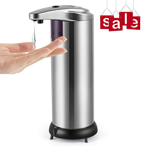 Cakie Soap Dispenser Infrared Motion Stainless Steel Touchless Automatic Shampoo Box with Waterproof Base & IR Sensor for Kitchen, Bathroom, Hotel and Restaurant, Large Silvery
