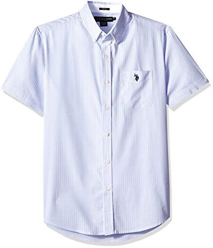 (U.S. Polo Assn. Men's Short Sleeve Classic Fit Plaid Shirt, Stretch Artist Blue, M)