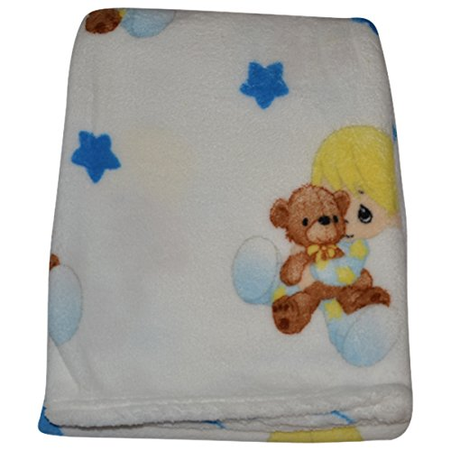 Precious Moments Super Soft and Warm White Baby Blanket Baby Hugging Teddy Bear, 30 x 40 - Precious Moments Apparel