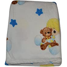 Precious Moments Super Soft and Warm White Baby Blanket Baby Hugging Teddy Bear, 30 x 40