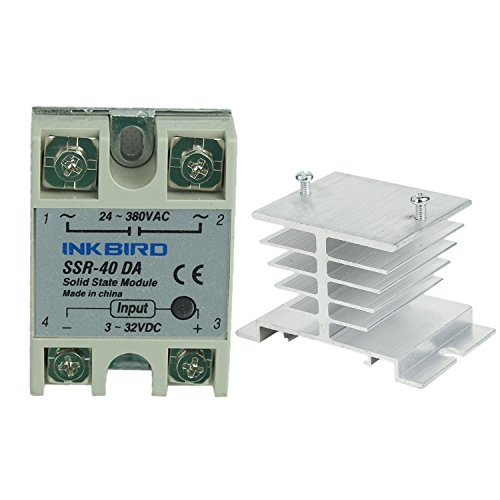 Inkbird SSR Solid State Relay + Heat Sink (Inkbird SSR-40DA, White Heat - Tapes Solid Mm 15