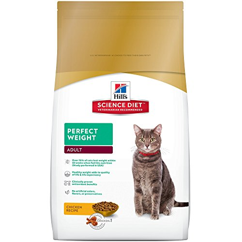 Hill's Science Diet Adult Perfect Weight Cat Food - Chicken Recipe Dry Cat Food for healthy weight and weight management - 15 lb Bag