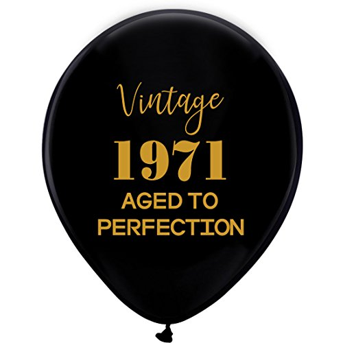 Black Vintage 1971 Balloons – 12inch (16pcs) Men and Women Gold 47th Birthday Party Decorations or Supplies