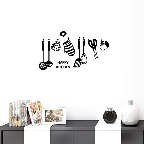 BIBITIME HAPPY KITCHEN Wall Sayings Quotes All kinds of cooking utensils Cookers Cups Scissors Glove Pancake Turner Silhouette Sticker for Kitchen Window Cabinet Shelf