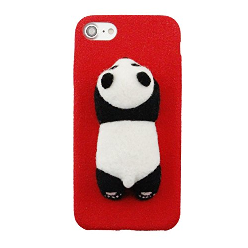 Q'nee Original Handmade Needle Wool Felt Cute Panda Case for iPhone 7 Plus Soft and Eco Friendly Phonecase (RED) (Wool Panda)