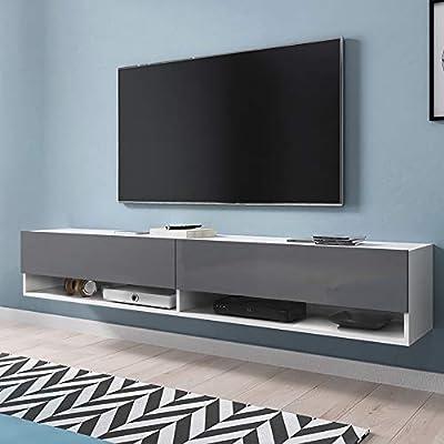 Selsey Wander - Mueble TV Suspendido/Mesa TV/Mueble para Salón (180 cm, sin LED, Blanco/Gris Brillante): Amazon.es: Electrónica