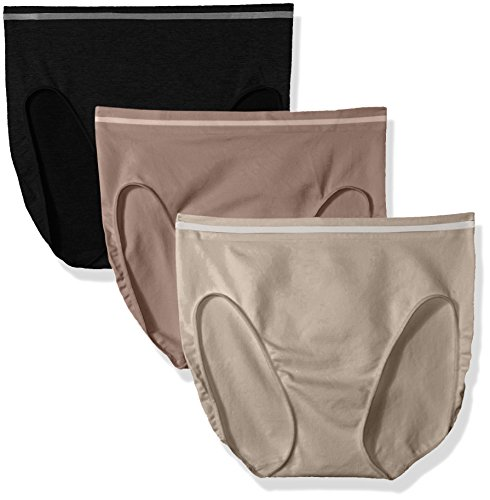 Ellen Tracy Women's 3 Pack Seamless Tipping Hi Cut Panty, Mink, Mocha, Black, Medium