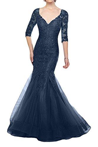Ausschnitt Promkleider Meerjungfrau Blau La Marie V Braut Brautmutterkleider Blau Tief Abendkleider Spitze Dunkel Dunkel HvYnavq