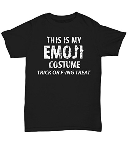Adult Halloween Costume Unisex T-Shirts for Both Men & Women - This is My Emoji Costume Trick F-ing Treat - Hilarious 2017 Halloween Party Idea - XX-Large ()