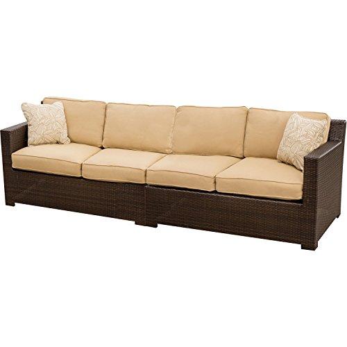 Hanover METRO2PC Metropolitan 2-Piece Lounging Set, Includes 2 Deep-Cushioned Loveseats Outdoor Furniture, Tan