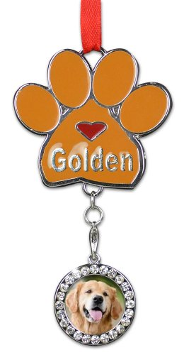 Golden Retriever Christmas Ornament - I Love My Golden Pawprint with a Photo Charm - Dog Christmas (Retriever Dog Breed Picture Frame)