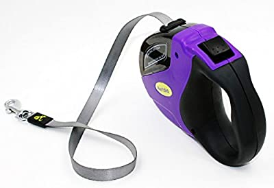 #1 Heavy Duty Retractable Dog Leash By Hertzko - Great for Small, Medium & Large Dogs up to 110lbs - Strong Nylon Ribbon Extends 16ft - 100% Satisfaction and Money Back Guarantee!