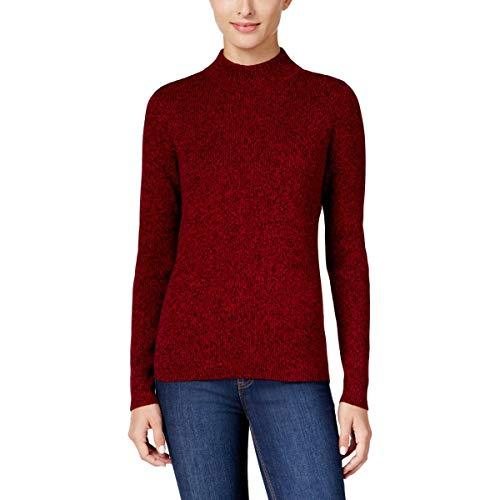 (Karen Scott Womens Petites Cable-Knit Mock-Neck Mock Turtleneck Sweater Red PL)