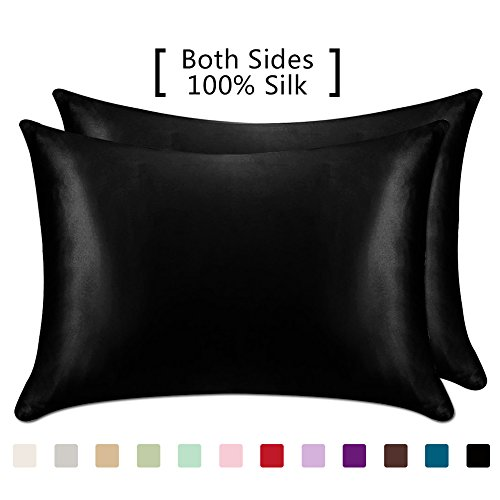 YANIBEST 19 Mome 2 Pack 100% Mulberry Silk Pillow Cases for hair and Skin (Standard, - Pillowcase Hair Satin