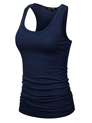 Ribbed Lace Tank Top (Instar Mode Women's Casual Basic Sleeveless Racerback Tank Top Navy Blue S)